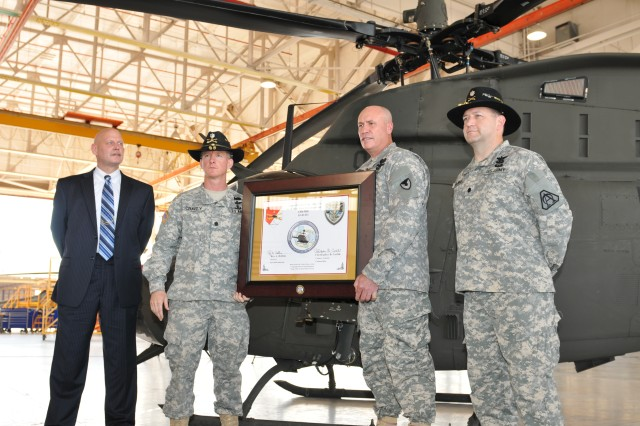 Corpus Christi Army Depot completes the First Wartime Replacement Aircraft (WRA) OH-58D Kiowa Warrior. It was delivered to the United States Army's 1st Squadron 6th Cavalry Regiment on June 7, 2012.