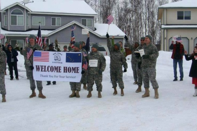 "Soldiers and Cadre members of the Warrior Transition Battalion-Alaska conduct a  Welcome Home Ceremony for Peter Krzanowski a Vietnam Veteran. As part of ""Operation Welcome Home"" the Soldiers and Cadre of the Warrior Transition Battalion-Alaska take time to thank prior veterans in the Anchorage area."