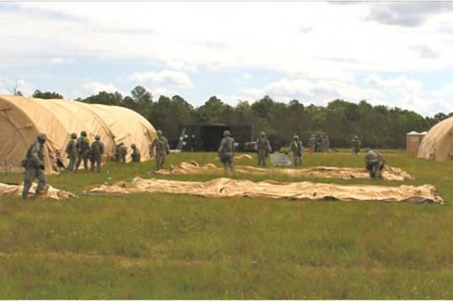 Soldiers set up FPE-MS shelters in less time and with fewer personnel.