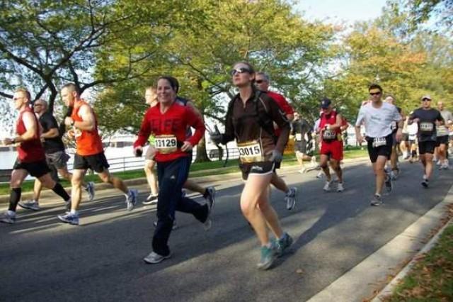 Army Capt. (Dr.) Chelsea Brundage, runner number 13129, has run 32 marathons. Her latest was the Boston Marathon last week. (Courtesy photo)