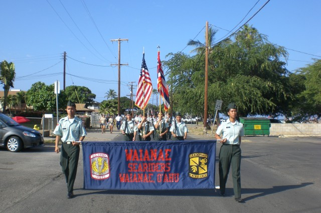 More than 600 JROTC cadets from 14 high schools walk in the 30th Annual Veterans Day Parade in Waianae, in November 2012.