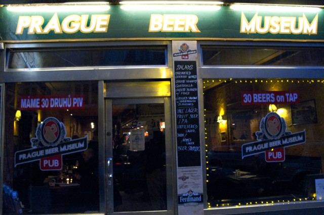 Tourists and locals alike flock to the Prague Beer Museum Pub to sample a variety of Czech beers on tap.