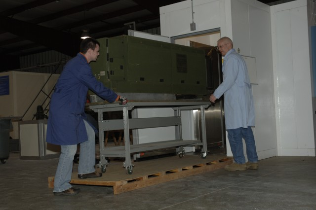 Large equipment is tested in walk-in chamber