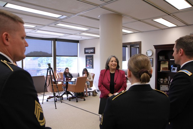 Madeline Rogero, Mayor of Knoxville, Tennessee, shares a light moment with Army Reserve Soldiers on the 105th birthday of the Army Reserve. Mayor Rogero presented them, along with other Soldiers in attendance, with a proclamation commemorating the Army Reserve birthday and spoke to each Soldier in turn, thanking them for their service. The Army Reserve originally started as the Medical Reserve Corps in 1908, but became an active military branch after World War I. The mission of the US Army Reserve is to provide trained, equipped and ready soldiers but also to help with aid after natural disasters and with civil support. Today, more than 200,000 Americans are enlisted in the Army Reserve ready for combat when called upon.