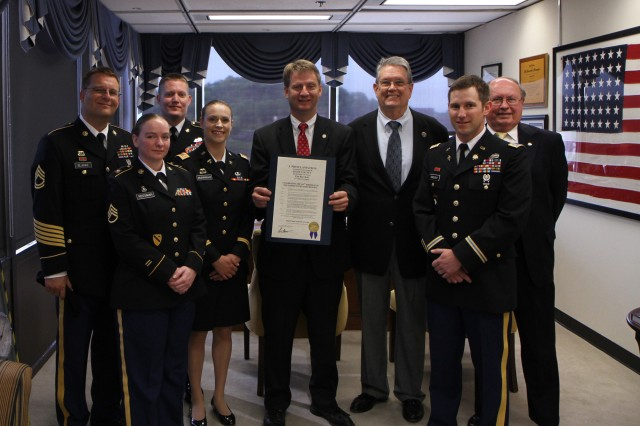 Tim Burchett, center, the Mayor of Knox County, Tenn., holds a proclamation to commemorate the 105th birthday of the Army Reserve in Knoxville on April 23. He is joined by several Army Reserve soldiers and Army Reserve Ambassador for Tennessee John Dyess, third from right. The Army Reserve originally started as the Medical Reserve Corps in 1908, but became an active military branch after World War I. The mission of the US Army Reserve is to provide trained, equipped and ready soldiers but also to help with aid after natural disasters and with civil support. Today, more than 200,000 Americans are enlisted in the Army Reserve ready for combat when called upon.