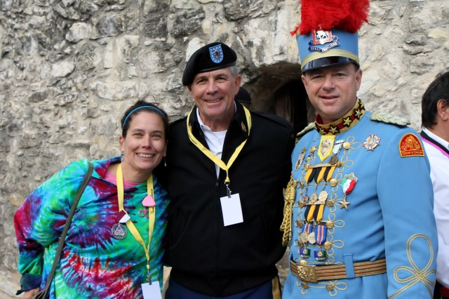 "SAN ANTONIO "" Command Sgt. Maj. Hu Rhodes (center) and his wife, Grace, meet with King Antonio XCI, Steve Dutton, during the Fiesta Fiesta celebration April 18 at the Alamo. Rhodes is the senior enlisted leader for U.S. Army North (Fifth Army), Fort Sam Houston and Camp Bullis."