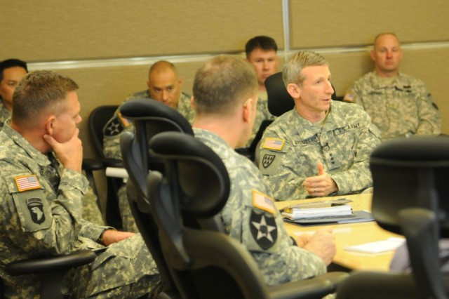 """JOINT BASE LEWIS-MCCHORD, Wash. """"  Lt. Gen. Howard Bromberg, U.S. Army Deputy Chief of Staff, G1, visited Joint Base Lewis-McChord Apr. 26 to discuss the Army's Ready and Resilient Campaign (R2C) with battalion and brigade commanders. The idea behind R2C is to build upon physical, emotional and psychological resilience in Soldiers, Families and Civilians to improve performance, and deal with the rigors and challenges of military service. Bromberg also met with the JBLM leaders to address changes in Army policies and in the human resources community. (Photo by Staff Sgt. Mark Miranda, 5th Mobile Public Affairs Detachment)"""