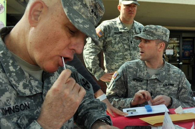 Lt. Gen. John. D. Johnson, the Eighth Army commander, participates in donating during the DOD Bone marrow Donor Drive held at the Yongsan Exchange, April. 26. (U.S. Army photo by Pfc. Jung Ji-hoon)