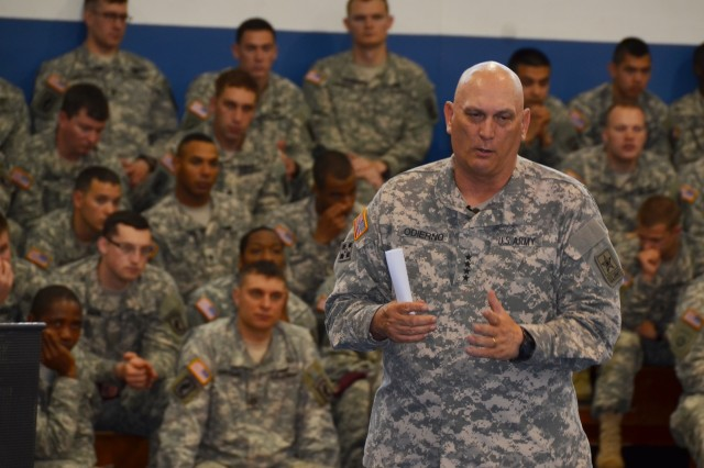 U.S. Army Chief of Staff Gen. Ray Odierno addresses Soldiers, Army civilians and family members from the 173rd Airborne Brigade and other units during a town hall meeting in Caserma Ederle in Vicenza, Italy, May 1, 2013.
