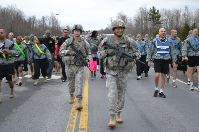 "Maj. Gen. Stephen J. Townsend, Fort Drum and 10th Mountain Division (LI)commander, leads the way during the ""Walk a Mile in Their Shoes"" event April 24"