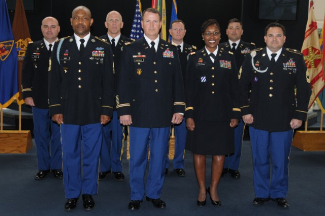 The quarterly retirement ceremony took place April 26 at the U.S. Army Aviation Museum to honor Soldiers that have earned special recognition and served the United States with distinction.  The retirees are: back row CW3 Scott Ross, Col. Richard C. Stockhausen, Lt. Col. Roderick M. Hynes, CW4 Douglas Warwick; front row 1st Sgt. John Orr, CW5 Ross Morrison, CW4 Deborah Barthell, Master Sgt. James Strickland Jr.