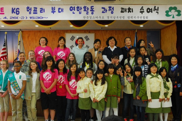 Girl Scouts from Camp Humphreys and Pyeongtaek were presented with the Lady Baden-Powell International Friendship Award April 26. This award fosters friendly, long-term relationships between USA Girl Scouts Overseas and the host county World Association of Girl Guides and Girl Scouts.