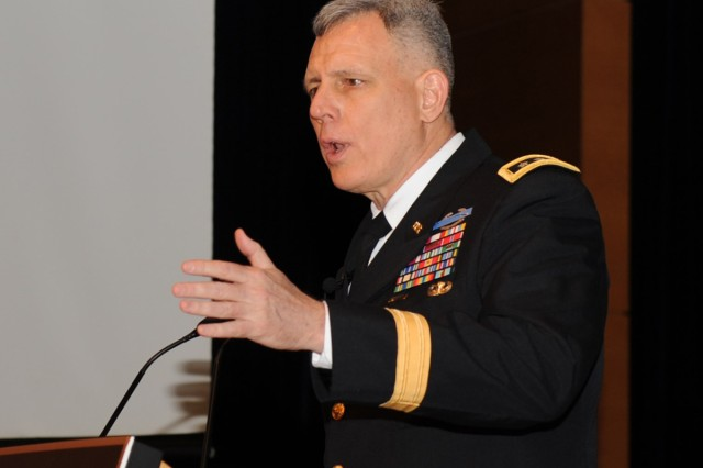 Eighth Army Commanding General Lt. Gen. John D. Johnson thanks South Korean business leaders at the Korean Chamber of Commerce and Industry May 3, 2013, in Seoul.