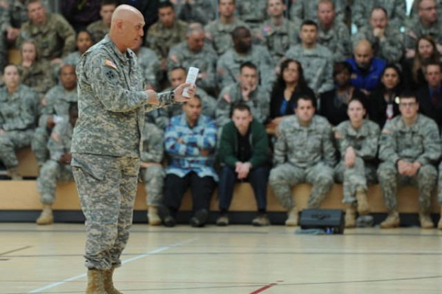Army Chief of Staff Gen. Raymond Odierno addresses an audience of hundreds of U.S. Army Europe and U.S. Army Garrison Wiesbaden Soldiers, civilian employees and others during his town hall meeting at Wiesbaden's Clay Kaserne, Germany, April 30, 2013.