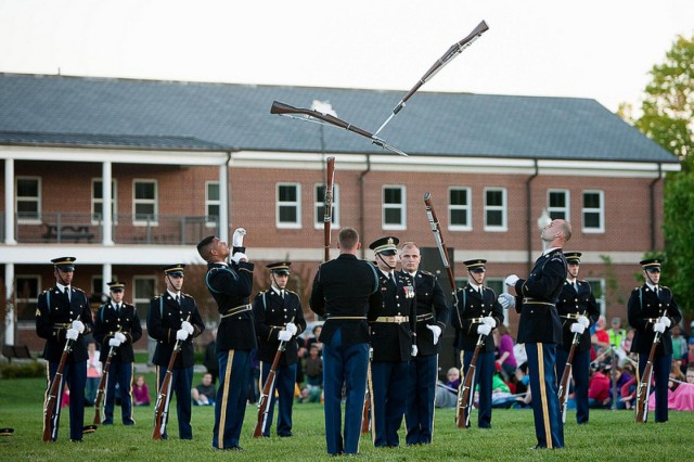 "The first Twilight Tattoo of the season, featuring the 3d U.S. Infantry Regiment (The Old Guard) and The U.S. Army Band ""Pershing's Own,"" is performed on Summerall Field May 1. The pre-ceremony performance also featured the band and drill team of the Norwegian King's Guard."