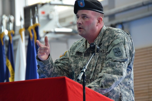 The 9th Engineer Battalion's Command Sgt. Maj. Jason Stewart relinquished his responsibilities, May 3, in a rare ceremony signaling the eventual end to the storied battalion.