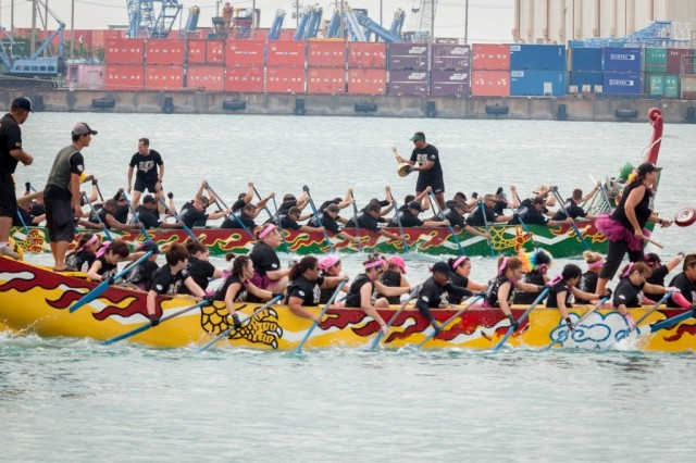 The U.S. Army men's and women's dragon boat teams were the pride of the service as they competed in the finals of the Naha Dragon Boat Race in Okinawa, on May 5, 2013. The teams were racing in category A, in which the men took first and the women finished third.