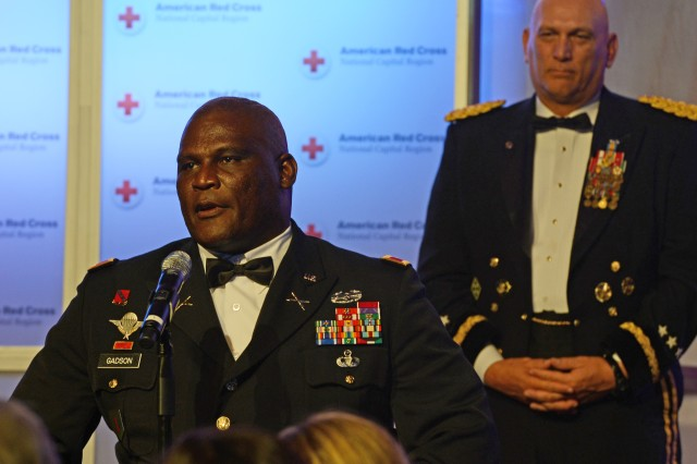 The Red Cross presented the Exceptional Service Award to Col. Gregory D. Gadson, garrison commander of Fort Belvoir, Va. Also honored by the Red Cross was Army Chief of Staff Gen. Ray Odierno and his wife Linda, who were honored with Lifetime of Service Awards.