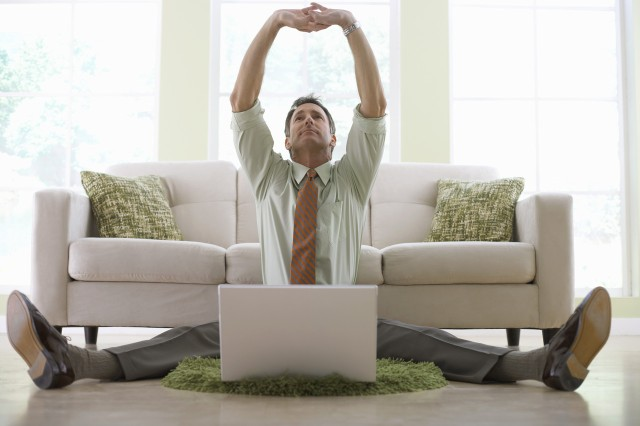 Taking time to stretch and move around the office space can improve mental and physical health.