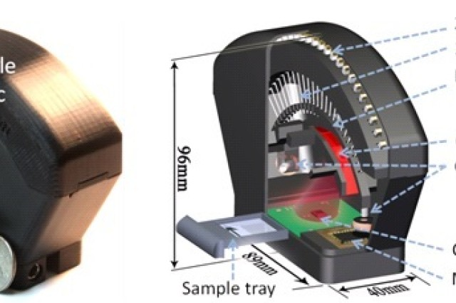 Photograph (left) and schematic diagram (right) of the field-portable lensfree tomographic microscope. This device will enable the 3D imaging of microscopic particles, a never-before-available capability (Complimentary Photograph adapted from Isikman, et al.).