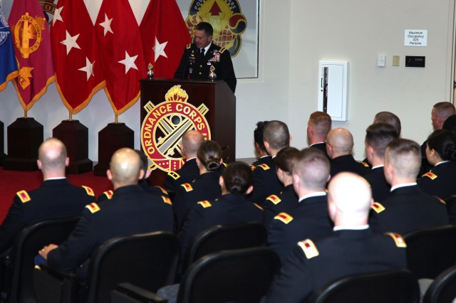 Lt. Gen. Daniel B. Allyn, incoming U.S. Army Forces Command commanding general, was the guest speaker during an Ordnance Basic Officer Leader Course graduation ceremony May 6. The ceremony was just one stop during his visit to the Combined Arms Support Command.