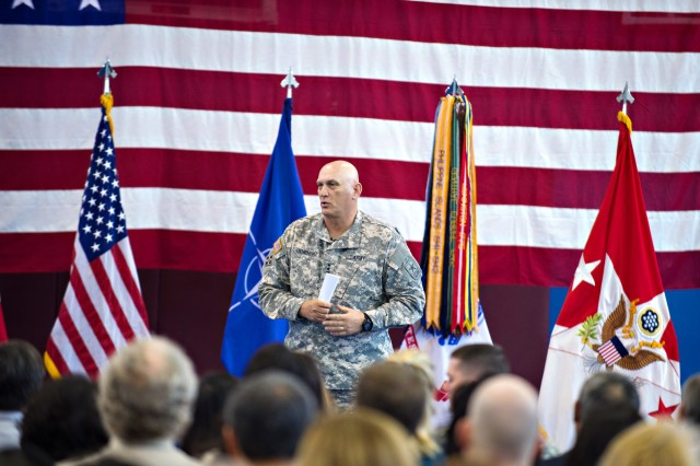 U.S. Army Chief of Staff Gen. Ray Odierno addresses Soldiers, Army civilians and family members from the 173rd Airborne Brigade and other units during a town hall meeting in Caserma Ederle in Vicenza, Italy, May 1, 2013.  (U.S. Army photo by Staff Sgt. Teddy Wade/ Released)