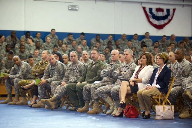 U.S. Army Lt. Gen. Donald M. Campbell Jr., Commanding General of U.S. Army Europe (USAREUR),  Maj. Gen. Patrick J. Donahue II, Commanding General of U.S. Army Africa -Southern European Task Force (USARAF/SETAF), Mrs. Linda Odierno and others listen to Army Chief of Staff Gen. Ray Odierno, not shown, during a town hall meeting in Caserma Ederle in Vicenza, Italy, May 1, 2013.  (U.S. Army photo by Staff Sgt. Teddy Wade/ Released)