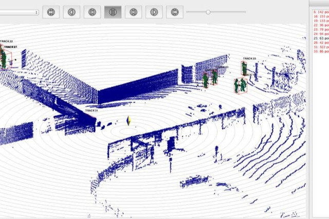 3D Point Cloud Data from LiDAR system highlighting current tracked personnel and surrounding environment