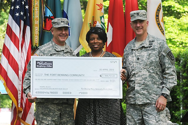 Maj. Gen. H. R. McMaster, Fort Benning commanding general, left, Starla de Saussure, post Army Volunteer Corps program manager, and Command Sgt. Maj. James Carabello hold an almost $2 million check symbolizing the hours worked by post volunteers.