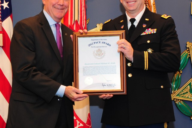 Assistant Secretary of the Army for Manpower and Reserve Affairs Thomas R. Lamont presents Lt. Col. Michael K. Kolb with the 2012 Pace Award in a ceremony at the Pentagon, May 8, 2013.