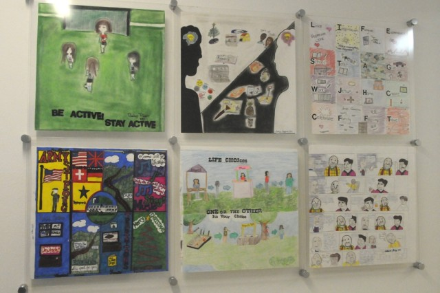 HMHS students consider their 'life space' in a permanent collection on display at Hohenfels Health Clinic.