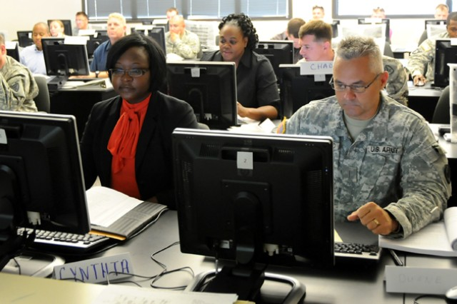 Soldiers and civilians participate in the ACAP Department of Labor workshop at Bldg. 5700 May 8. ACAP will be moving its classes to the second floor of Bldg. 4502 where the program will be able to facilitate more Soldiers.
