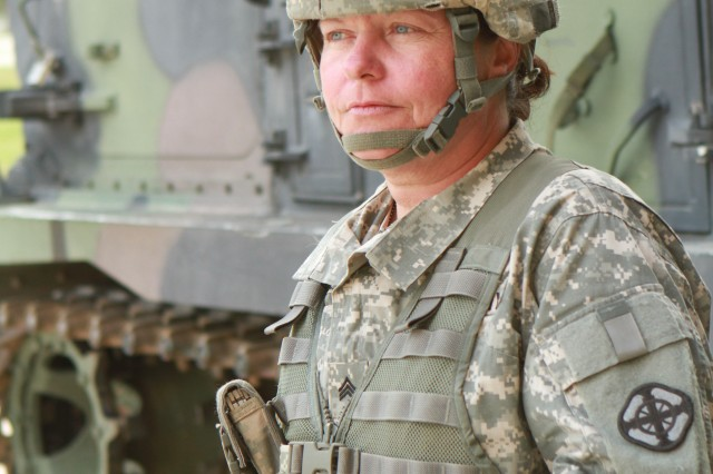 FORT SILL, Okla. -- Sgt. Pamela Stenman, 1st Battalion, 78th Field Artillery, is the first female noncommissioned officer in the 13M Multiple Launch Rocket System Crewmember military occupational specialty.