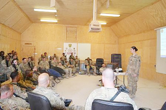 Captain Dana Cook, the 3rd SB master resiliency trainer, offers Soldiers and leaders a wellness workshop May 3, at Kandahar Airfield in Kandahar province, Afghanistan.