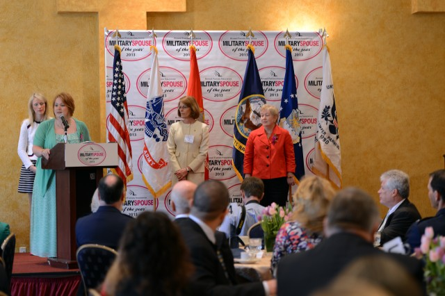 The 2013 Army Spouse of the Year, Tara Crooks of Fort Sill, Okla., speaks during the 2013 Military Spouse of the Year Awards ceremony.
