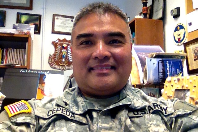 "Maj. Vicente ""Vince"" V. Cepeda Jr. serves as the chaplain for the 49th Missile Defense Battalion at Fort Greely, Alaska."