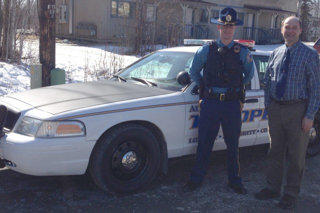 Ed Luteran, quality management assistant for the U.S. Army Corps of Engineers-Alaska District, accompanies Trooper Andrew Gault on a patrol shift as part of the Alaska State Troopers Citizen Academy. Luteran was among 30 local residents who completed the academy's second session in April.