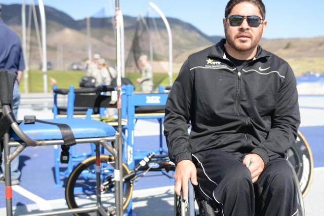 Juan Soto prepares for discus practice.
