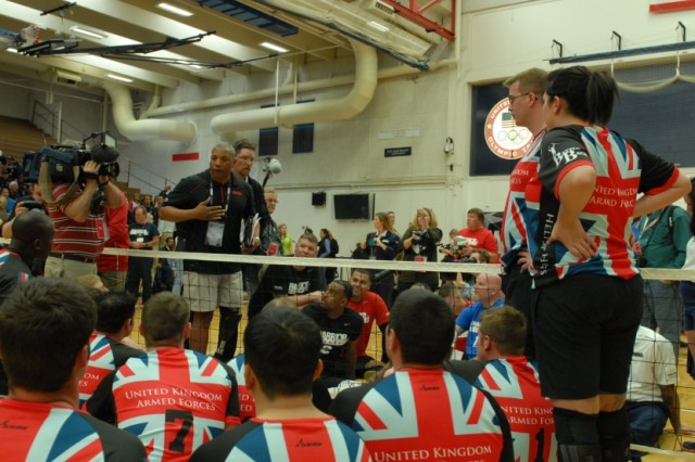 COLORADO SPRINGS, Colo.  -  Wounded, ill or injured service members from the British Armed Forces sitting volleyball team and the United States sitting volleyball team listen to a pre-game briefing before competing in a exhibition game at the opening ceremonies for the Warrior Games held at the Olympic Training Center on May 11, 2013.  Hundreds were on hand for the ceremony, including Great Britain's Prince Harry.  (Photo by U.S. Army Staff Sgt. Brent Powell, 210th Mobile Public Affairs Detachment)