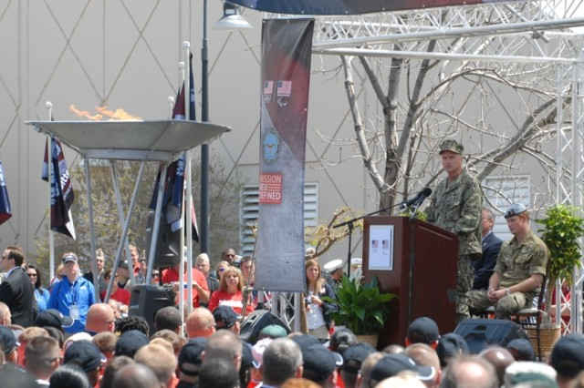 COLORADO SPRINGS, Colo.  -  U.S. Navy Admiral James A. Winnefeld, Jr., Vice Chairman of the Joint Chiefs of Staff, addresses the crowd at the opening ceremony of the Warrior Games held at the Olympic Training Center in Colorado Springs on May 11, 2013.  The ceremony kicked off a weeklong event that pits 260 wounded, ill or injured service members from across the Department of Defense and United Kingdom against each other. The competitions will cover seven sports: archery, cycling, shooting, sitting volleyball, swimming, track and field and wheelchair basketball.  (Photo by U.S. Army Staff Sgt. Brent Powell, 210th Mobile Public Affairs Detachment)