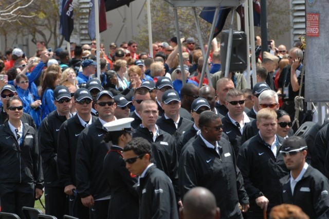 "COLORADO SPRINGS, Colo. "" Fifty athletes representing Team Army attended the opening ceremony of the Warrior Games on May 11, 2013, at the Olympic Training Center.  The ceremony kicked off a weeklong event that pits 260 wounded, ill or injured service members from across the Department of Defense and United Kingdom against each other. The competitions will cover seven sports: archery, cycling, shooting, sitting volleyball, swimming, track and field and wheelchair basketball.  (Photo by U.S. Army Staff Sgt. Brent Powell, 210th Mobile Public Affairs Detachment)"