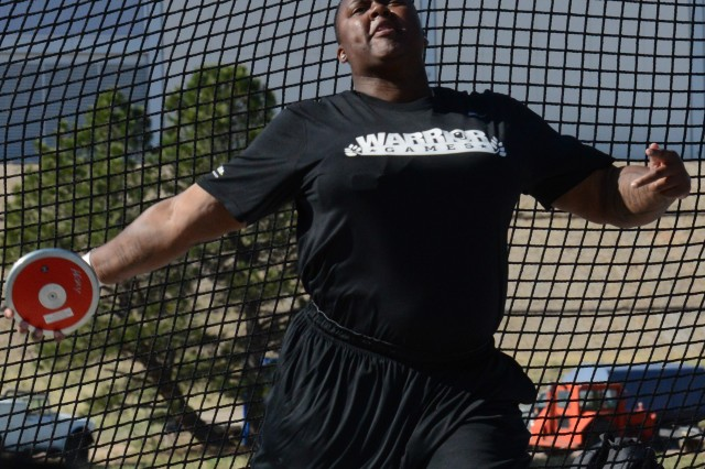 Retired Sgt. Monica Y. Southall prepares to release the discus, May 14, 2013, during the 2013 Warrior Games, held in Colorado Springs, Colo., May 11-16, 2013. She earned gold.