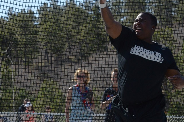 Retired Sgt. Monica Y. Southall releases the discus, May 14, 2013, during the 2013 Warrior Games, held in Colorado Springs, Colo., May 11-16, 2013. She earned gold.