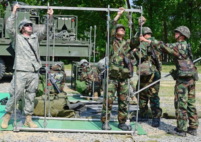 U.S. Signal Soldiers assist South Korean Soldiers set up decontamination area