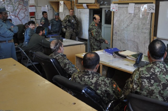 ANSF Leaders conduct a Joint Operations Brief at the Operational Coordination Center - Provincial (OCC-P), Paktika Province.