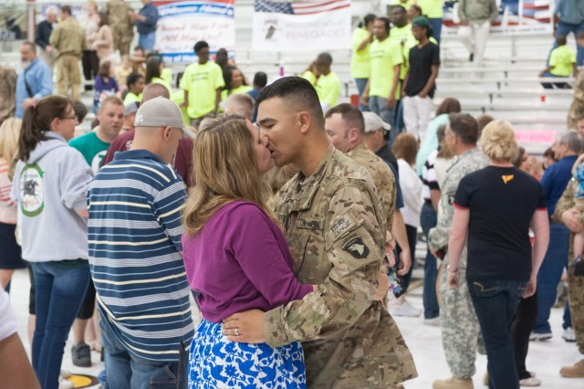 Spc. RossMichael Noffisinger, Headquarters and Headquarters Company, 1st Battalion, 101st Combat Aviation Brigade, 101st  Airborne Division (Air Assault,) kisses his wife during a welcome home ceremony at Fort Campbell, Ky., May 14, 2013. (U.S. Army photo by Sgt. Duncan Brennan, 101st CAB Public Affairs)
