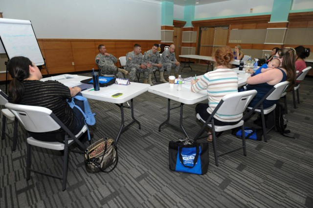2nd Infantry Division leadership hold a discussion panel as part of the three-day seminar for spouses of new company commanders and first sergeants during the training program at the Camp Casey Community Activities Center May 15-17.