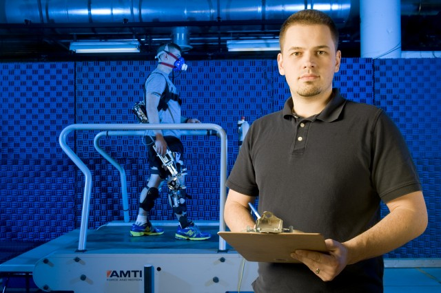 Al Adams, a biomechanics research engineer at Natick Soldier Research, Development and Engineering Center, has been studying the weight, hinge design and assistive power of a quasi-passive exoskeleton.