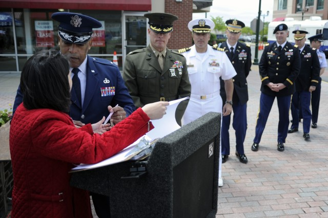 Military leaders from Fredericksburg, Va. installations gathered on May 4 to sign the Fredericksburg Region Armed Forces Community Covenant. Commanders from the Army, Navy, Air Force and Marines plus the Virginia National Guard signed the covenant.