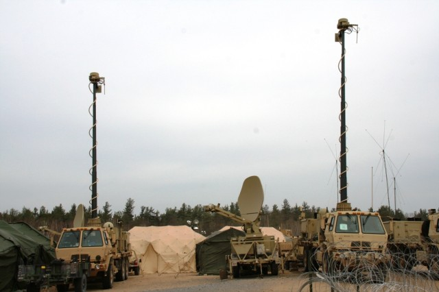 Shown here supporting command post operations, a Warfighter Information Network-Tactical Increment 2 Satellite Tactical Terminal + (center), sits between two mobile WIN-T Increment 2  Tactical Communications Nodes  during 3rd Brigade Combat Team, 10th Mountain Division (Light Infantry) training exercises at Fort Drum, N.Y., April 19, 2013.